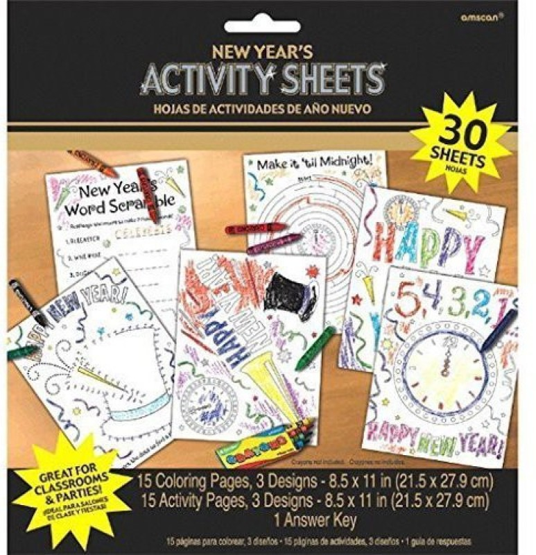 Amscan New Year's Coloring Activity Sheets