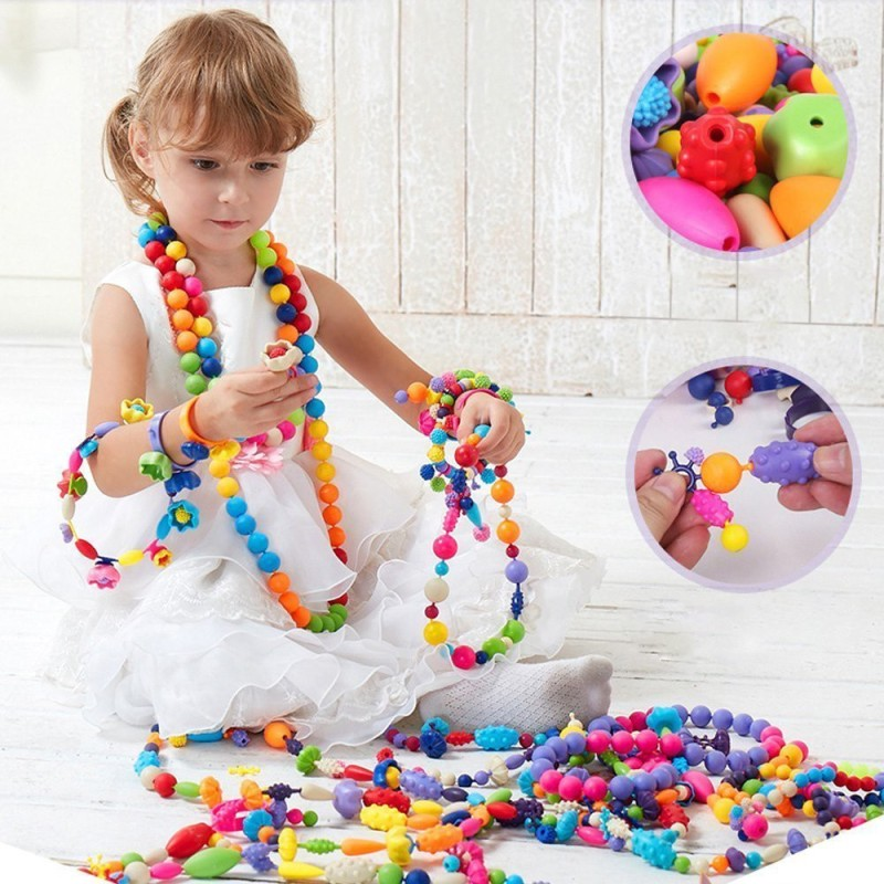 Montez Pop Beads Snap-Together for Kid Necklace and Bracelet kit