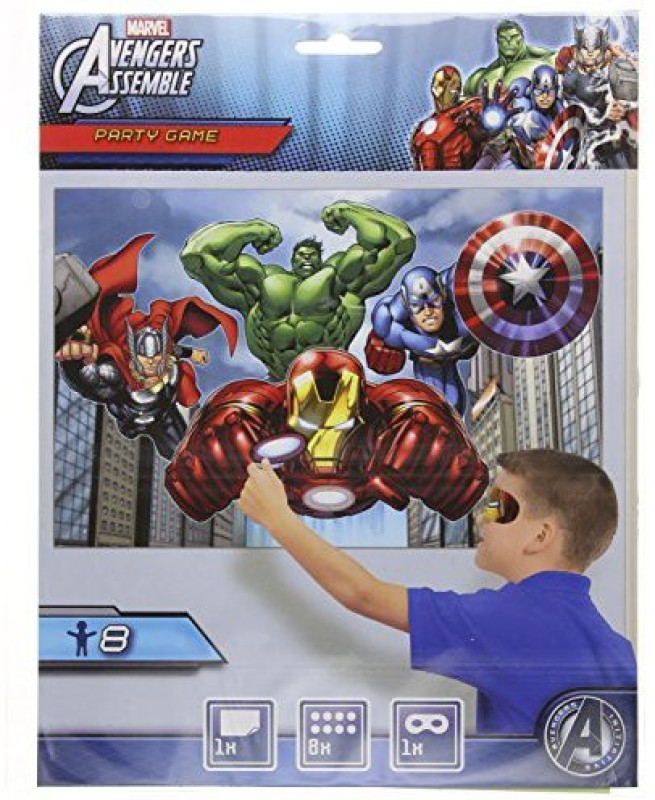 Amscan Avengers Party Game, Pin The Arc Reactor to The Iron Man Suit, Multicolored
