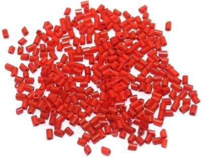 Jaunty Beadsnfashion 2 Cut Seed Bugles Beads Red (100 Gm)