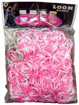 Shatchi 4 Tone Pink & White 600 Loom Band Refill Kit Kids Arts Crafts Toys With S Clips & Hook, Birthday, Anniversary, Festival