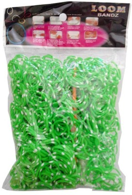 Shatchi Polka Dot Green 600 Loom Band Refill Kit Kids Arts Crafts Toys With S Clips & Hook, Birthday, Anniversary, Festival