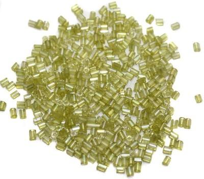 Jaunty Beadsnfashion 2 Cut Seed Bugles Beads Light Peridot Rainbow (100 Gm)