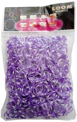 Shatchi Polka Dot Purple 600 Loom Band Refill Kit Kids Arts Crafts Toys With S Clips & Hook, Birthday, Anniversary, Festival