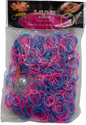 Shatchi 2 Tone Pink & Blue 600 Loom Band Refill Kit Kids Arts Crafts Toys With S Clips & Hook, Birthday, Anniversary, Festival