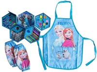 Deluxe Frozen Frozen- 4 Layer Art Kit Set With Elsa & Anna Dress Up Artist Apron Plus Arm Sleeves