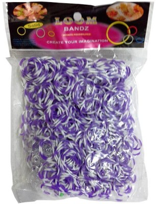 Shatchi 8 Tone Purple & White 600 Loom Band Refill Kit Kids Arts Crafts Toys With S Clips & Hook, Birthday, Anniversary, Festival