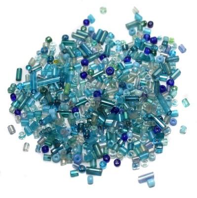 Jaunty Beadsnfashion Seed Bugles Beads Turquoise Assorted (100 Gm)