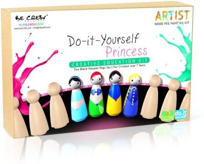 Be Cre8v Princess Wooden Peg DIY Painting Kit