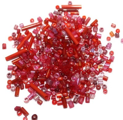 Jaunty Beadsnfashion Seed Bugles Beads Red Assorted (100 Gm)