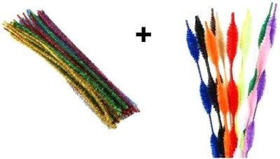Atanands Combo Kit Of 40 Pcs Of Bump And Tinsel Pipe Cleaners Craft Wire Sticks