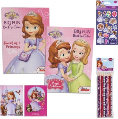 Disney r. Sofia the First Ultimate Coloring Book Value Pack Gift Set - 5 Piece Princess Sofia the First Coloring Book and Supply Set for Kids with 2 Big Fun Coloring Books, 1-pack of 8 Colored Pencils and 2 Packs of Crayons (Box Designs May Vary) Plus Bonus Pack of Princess Sofia Stickers