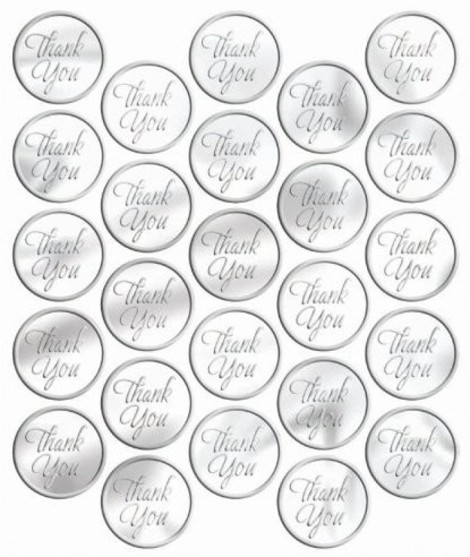 Amscan Metallic Silver Thank You Sticker