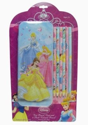 Disney Princess Tin Pencil Case and 6 Pack Colored Pencil