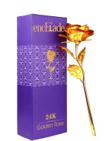 Stealodeal Golden Valentine gift Rose With Gift Box Gold Rose Artificial Flower(9.8 inch, Pack of 1) best price on Flipkart @ Rs. 449