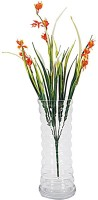 Orchard White Glass Flower vase with Orange Flowers Multicolor Assorted Artificial Flower  with Pot(18 inch, Pack of 1)