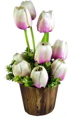 Sadhna Creations White, Pink Tulips Artificial Flower  with Pot