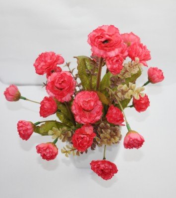 Aryash Highbrow Creation Red Peony Artificial Flower  with Pot