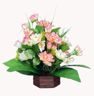 Loxia SMFA-2002D Multicolor Assorted Artificial Flower  with Pot