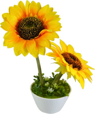 Sadhna Creations Yellow Sunflower Artificial Flower  with Pot