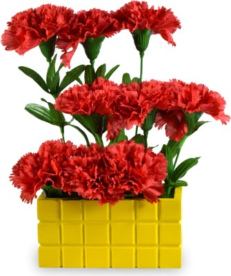 Sadhna Creations Red Carnations Artificial Flower  with Pot