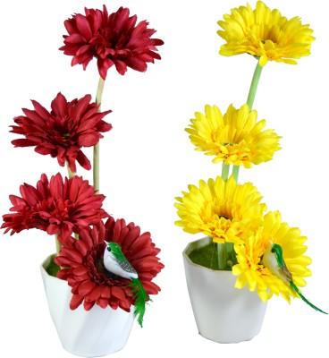 Sadhna Creations Red, Yellow Gerbera Artificial Flower  with Pot