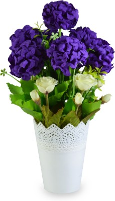 Sadhna Creations Purple, White Rose Artificial Flower  with Pot