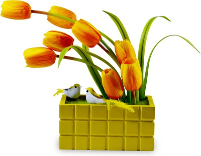 Magical Petals Yellow Tulips Artificial Flower  with Pot
