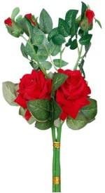 Loxia Red Rose Artificial Flower with Pot(4.3 inch, Pack of 1)