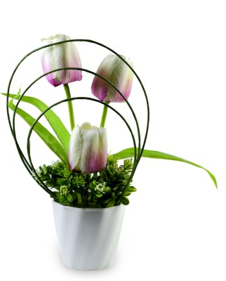 Sadhna Creations Pink Tulips Artificial Flower  with Pot