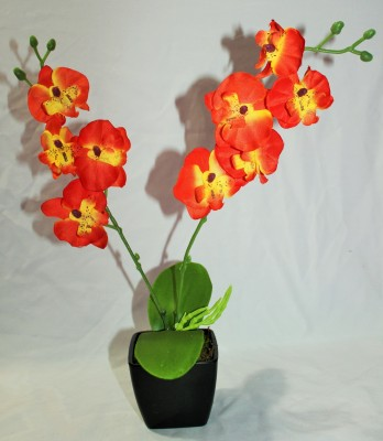 Aryash Highbrow Creation Orange Orchids Artificial Flower  with Pot