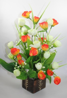 Aryash Highbrow Creation Orange, White Tulips Artificial Flower  with Pot