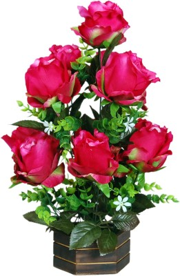 Loxia 4010B Pink Rose Artificial Flower  with Pot