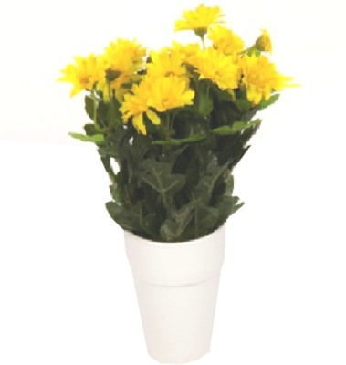 Flowers Forever 7 Heads Mini Mum Yellow Assorted Artificial Flower  with Pot