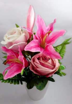 Aryash Highbrow Creation Pink Lily, Rose Artificial Flower  with Pot