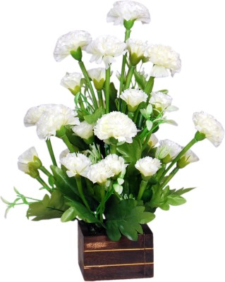 Loxia 4016A White Carnations Artificial Flower  with Pot