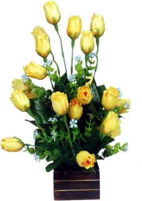 Loxia 4013A Yellow Rose Artificial Flower  with Pot