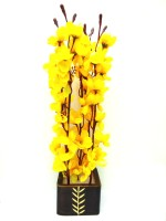Blue Bird Yellow Orchids Artificial Flower  with Pot(15 inch, Pack of 1)