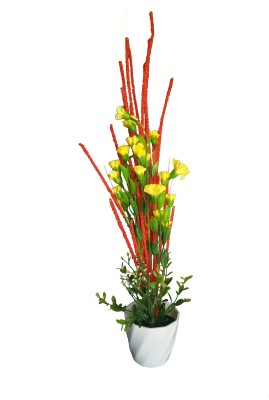 V Creations Yellow Assorted Artificial Flower  with Pot
