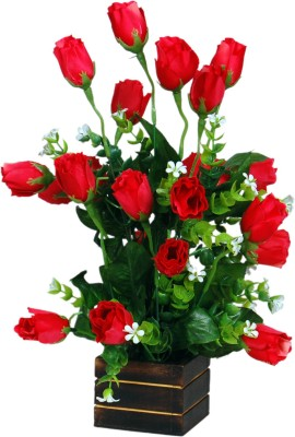 Loxia 4013D Red Rose Artificial Flower  with Pot