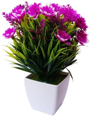 Nimble House Bonsai-7 Purple Lily Artificial Flower  with Pot