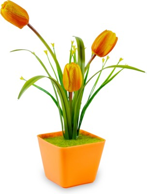 Sadhna Creations Orange Tulips Artificial Flower  with Pot