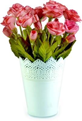 Sadhna Creations Pink Rose Artificial Flower  with Pot