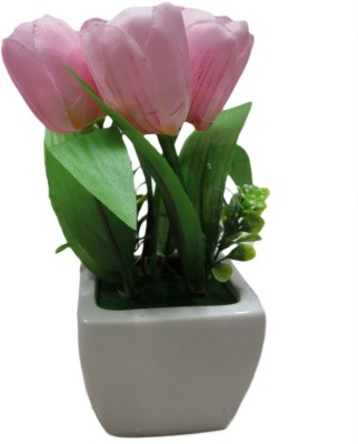 Flowers Forever Multicolor Tulips Artificial Flower  with Pot(8 inch, Pack of 1)