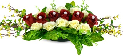 Sadhna Creations Red Rose, Daisy Artificial Flower  with Pot