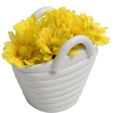 Gifts By Meeta Decor Yellow, White Assorted Artificial Flower  with Pot
