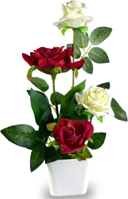 Sadhna Creations Red Rose Artificial Flower  with Pot