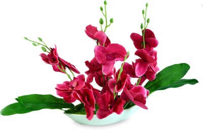 Sadhna Creations Pink Orchids Artificial Flower  with Pot