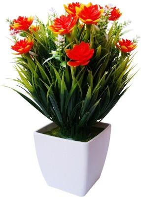 Nimble House Bonsai-6 Orange Lily Artificial Flower  with Pot