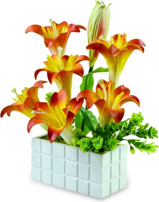 Sadhna Creations Red Lily Artificial Flower  with Pot